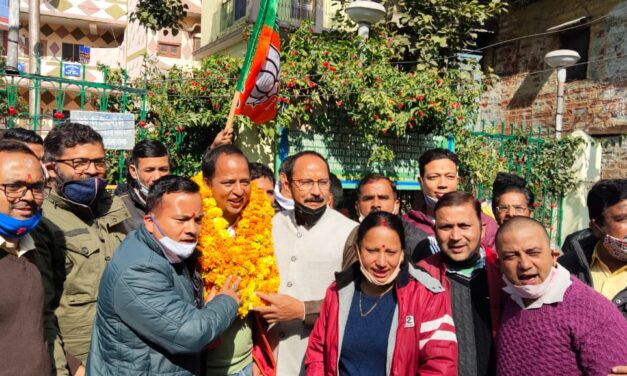 भाजपा कार्यकर्ताओं ने नवनिर्वाचित जिला मंत्री विनीत का किया भव्य स्वागत।